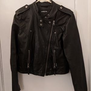 Members Only cropped-back Leather Jacket